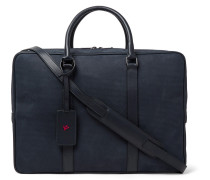 Leather-trimmed Textured-suede Briefcase