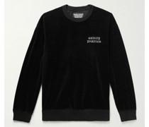 Logo-Embroidered Cotton-Blend Velour Sweatshirt