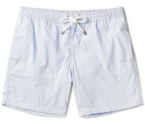 Slim-fit Striped Seersucker Mid-length Swim Shorts
