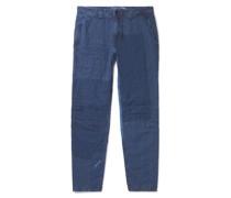 Slim-Fit Sashiko Patchwork Indigo-Dyed Linen Trousers
