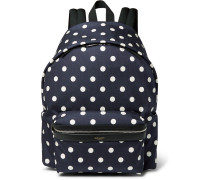 Leather-trimmed Polka-dot Print Canvas Backpack