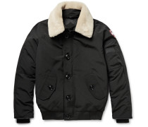 Foxe Shearling And Leather-trimmed Shell Down Bomber Jacket