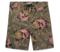 Long-Length Printed Cotton-Blend Swim Shorts