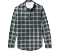 Cascade Button-down Collar Checked Cotton-flannel Shirt