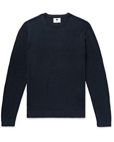 Ribbed Cotton Sweater - Navy