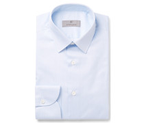 Blue Slim-fit Pinstriped Cotton-poplin Shirt