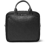 Intrecciato Leather And Canvas Carry-on Bag