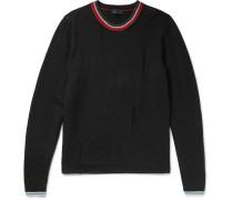 Distressed Striped Wool Sweater