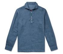 Embroidered Linen Half-Placket Shirt