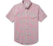 Slim-fit Button-down Collar Checked Cotton-seersucker Shirt