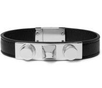 Leather And Silver-tone Bracelet