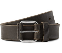 3cm Olive Washed-leather Belt