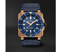 BR 03-92 Limited Edition Diver Blue Bronze Automatic 42mm Bronze and Leather Watch, Ref. No. BR0392-D-LU-BR/SCA