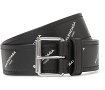 3.5cm Black Printed Leather Belt