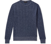 Cable-Knit Mélange Cashmere and Cotton-Blend Sweater