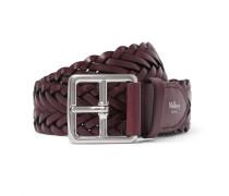 4cm Burgundy Woven Leather Belt