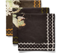 Set Of Three Floral-print Cotton Pocket Squares