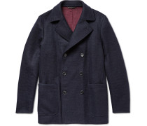 Suede-trimmed Double-faced Woven Cashmere Peacoat