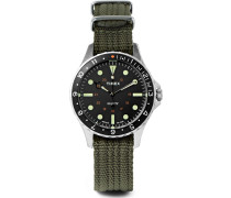 Navi Harbor Stainless Steel And Webbing Watch Gift Set