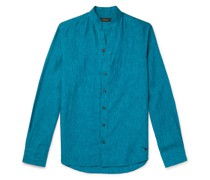 Grandad-Collar Linen-Chambray Shirt