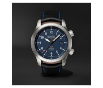MBII Blue Automatic 43mm Stainless Steel and Leather Watch, Ref. MBII-SS-BL-C-B-P-13R