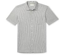 Slim-Fit Camp-Collar Striped Cotton-Blend Shirt