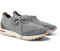 360 Flexy Walk Leather-Trimmed Knitted Wish Wool Sneakers