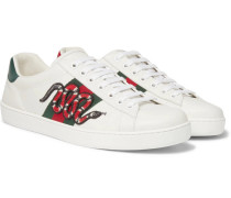 Ace Watersnake-trimmed Appliquéd Leather Sneakers