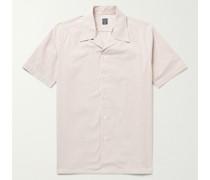 Camp-Collar Striped Cotton-Blend Seersucker Shirt