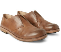 Washed-leather Slip-on Derby Shoes