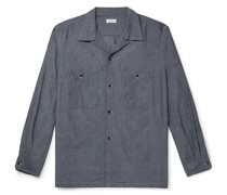 Wind Camp-Collar Lyocell and Cotton-Blend Shirt