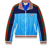 Striped Webbing-Trimmed Colour-Block Tech-Jersey Track Jacket
