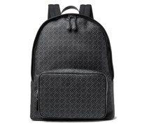 Leather-Trimmed Logo-Print Coated-Canvas Backpack