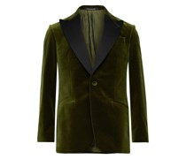 Slim-Fit Satin-Trimmed Cotton-Velvet Tuxedo Jacket