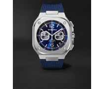 BR 05 Automatic Chronograph 40mm Stainless Steel and Rubber Watch, Ref.No. BR05C-BUBU-ST/SRB