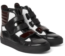 Colour-block Leather High-top Sneakers