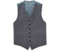 Conrad Checked Wool and Satin Waistcoat