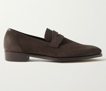 George Leather-Trimmed Pebble-Grain Suede Penny Loafers