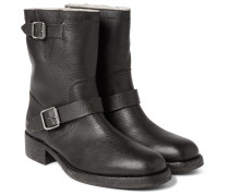 Shearling-lined Grained-leather Biker Boots