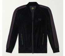 Logo-Embroidered Webbing-Trimmed Cotton-Blend Velour Track Jacket