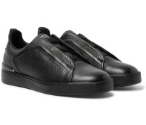 Triple Stitch Full-grain Leather Slip-on Sneakers