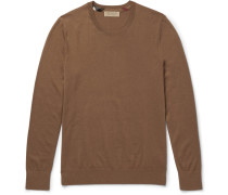 Check-trimmed Cashmere Sweater