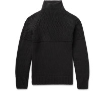 Textured Cashmere Mock Neck Sweater
