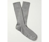 Delta Ribbed Sea Island Cotton-Blend Socks