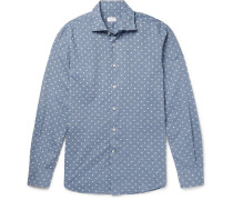 Slim-fit Polka-dot Slub Cotton Shirt
