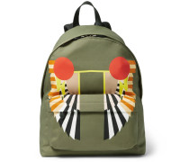 Leather-trimmed Printed Canvas Backpack