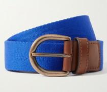 Leather-Trimmed Canvas Belt