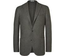 Grey Slim-fit Wool, Cotton And Cashmere-blend Blazer