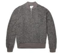 Textured Knitted Half-zip Sweater