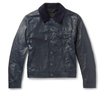 Arno Slim-fit Corduroy-trimmed Leather Jacket